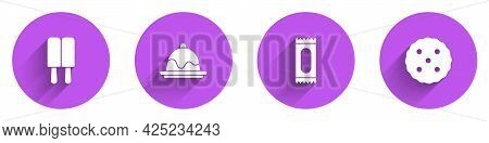 Set Ice Cream, Cake, Candy And Cookie Or Biscuit Icon With Long Shadow. Vector