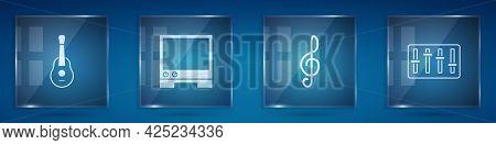 Set Guitar, Voice Assistant, Treble Clef And Sound Mixer Controller. Square Glass Panels. Vector