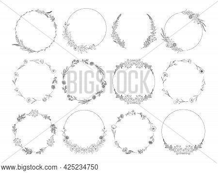 Floral Wreaths Set, Black Line Art Garlands, Isolated On White. Botanical Frames Of Wild Flowers, He