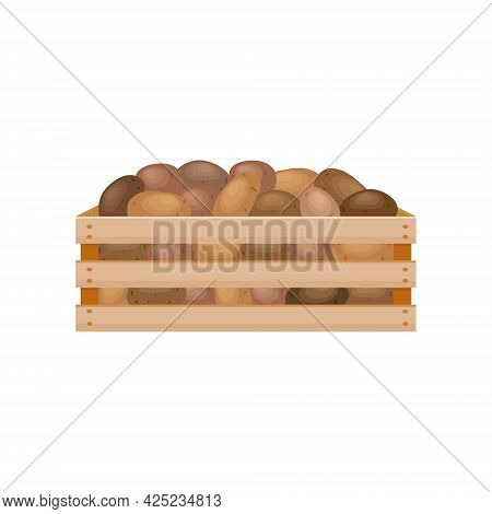 A Bright Autumn Illustration With The Image Of A Wooden Box With Potatoes. The Harvested Crop Of Fre