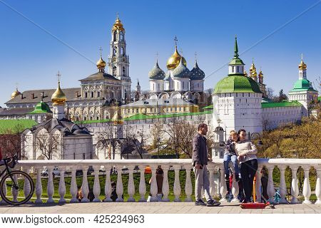 Holy Trinity St. Sergius Lavra Is A Beautiful Summer Panorama. Sergiev Posad (formerly Zagorsk) Is A