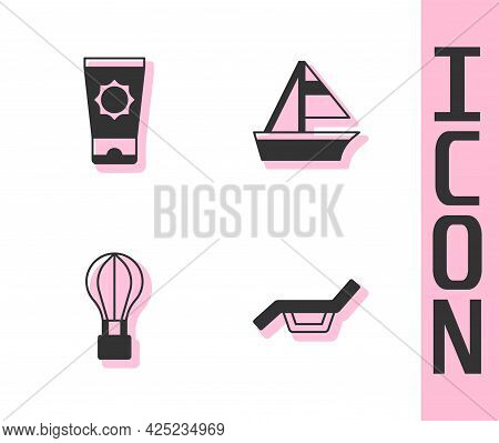 Set Sunbed And Umbrella, Sunscreen Cream In Tube, Hot Air Balloon And Yacht Sailboat Icon. Vector