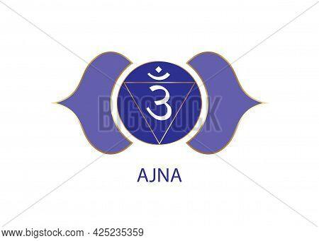 Third Eye Chakra Ajna Logo Template. The Sixth Frontal Chakra, Sacral Sign Meditation, Yoga Blue And