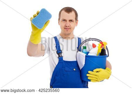 Portrait Of Professional Male Cleaner In Blue Uniform Holding Bucket With Cleaning Equipment And Cle