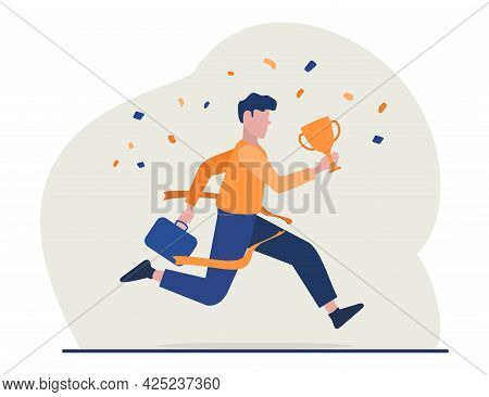 Flat Illustration Business Winner Reaching Goal, Success. Business Vector Illustration
