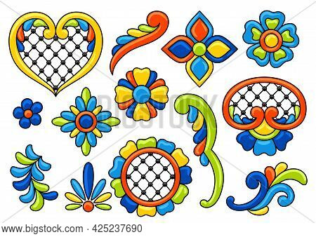 Mexican Talavera Set. Decoration With Ornamental Flowers. Background With Mexican Talavera Pattern.