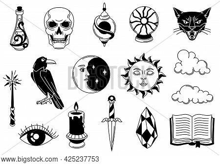 Magic Set Of Mystery Items. Mystic, Alchemy, Spirituality Symbols.