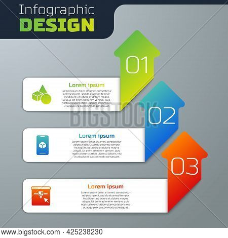Set Basic Geometric Shapes, 3d Printer Software And Setting. Business Infographic Template. Vector