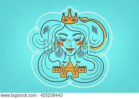 Leo Constellation, Zodiac Sign, Illustration Of Girl With Imposter Syndrome, Woman Dreaming About Cr