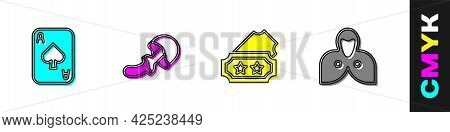 Set Playing Cards, Psilocybin Mushroom, Ticket And Mantle, Cloak, Cape Icon. Vector
