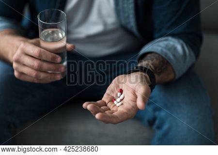 Deeply Unhappy, Depressed Man, Suicide, Taking Somnifacient, Antidepressant, Overdose Drug