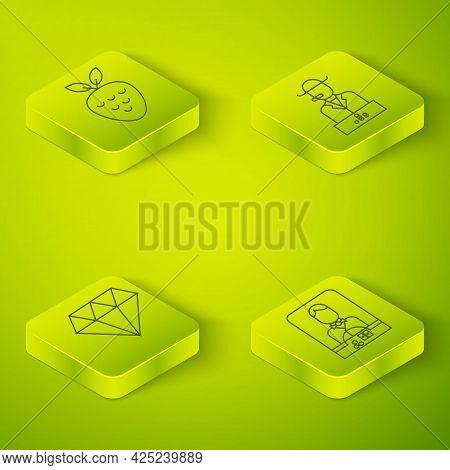 Set Isometric Poker Player, Diamond, Casino Dealer And Casino Slot Machine With Strawberry Icon. Vec