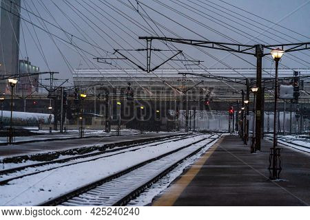 Northern Railway Station (gara De Nord) During A Cold And Snowy Day In Bucharest, Romania, 2021