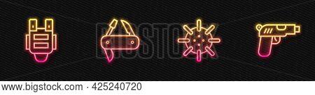 Set Line Naval Mine, Bulletproof Vest, Swiss Army Knife And Pistol Or Gun. Glowing Neon Icon. Vector