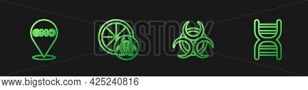 Set Line Biohazard Symbol, Gmo, Genetically Modified Orange And Dna. Gradient Color Icons. Vector