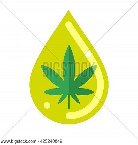 Cannabis Or Hemp Leaf Inside Oil Drop. Cannabis Or Hemp Oil. Flat Vector Illustration Isolated On Wh