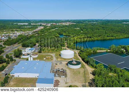 Aerial View Of Solid Clarifier Tank Type Sludge Recirculation In Water Treatment Plant In Ner The Fl