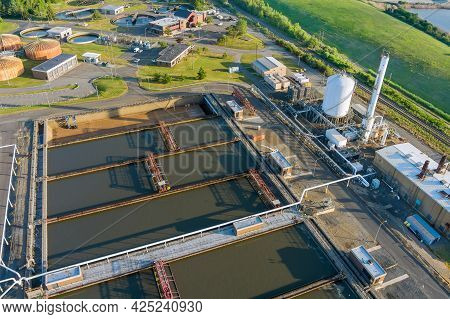 Panoramic Aerial View Of Basins For Sewage Water Aeration And Cleaning In Process Of Sewage Treatmen