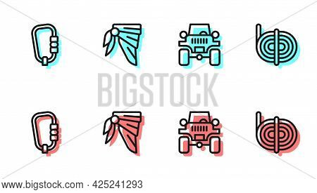 Set Line Off Road Car, Carabiner, Bandana Or Biker Scarf And Climber Rope Icon. Vector