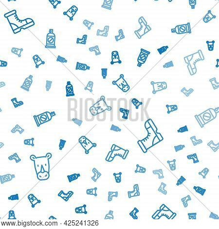 Set Line Rhinoceros, Hunter Boots And Spray Against Insects On Seamless Pattern. Vector