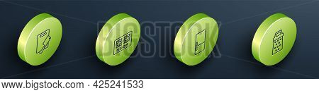 Set Isometric Line Cutting Board And Meat Chopper, Gas Stove, Refrigerator And Grater Icon. Vector