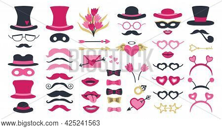 Cute Valentine Day Photo Booth Props As Set Of Party Graphic Elements Of Hearts, Hats, Mustaches, Li