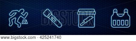 Set Line Evidence Bag With Knife, Crime Scene, Flashlight And Bulletproof Vest. Glowing Neon Icon On
