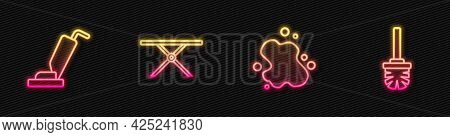 Set Line Water Spill, Vacuum Cleaner, Ironing Board And Toilet Brush. Glowing Neon Icon. Vector