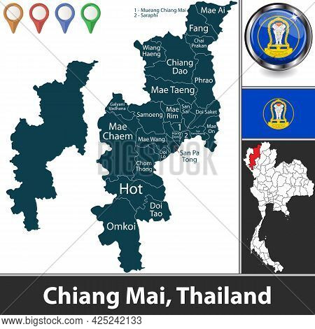 Map Of Chiang Mai Province With Districts And Location On Thai Map. Vector Image