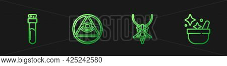 Set Line Pentagram On Necklace, Bottle With Potion, Masons And Witch Cauldron. Gradient Color Icons.