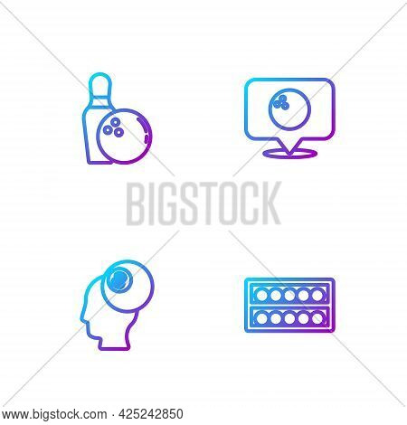 Set Line Billiard Balls On A Stand, , Bowling Pin And Location With Bowling. Gradient Color Icons. V