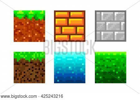 Pixel Art Icons. 2d Textures For 8-bit Games. Set Of Vector Pixel Textures. Objects For A Pixel Game