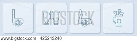 Set Line Golf Club With Ball, , Binoculars And Bag Clubs. White Square Button. Vector