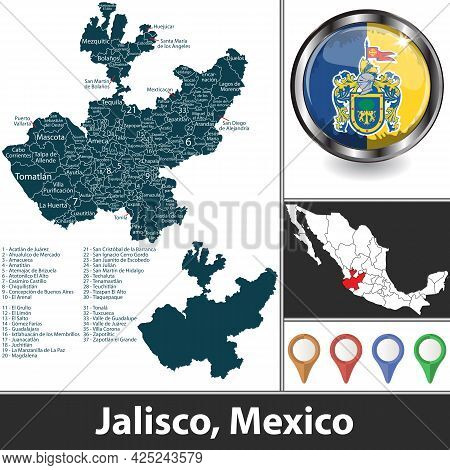 State Of Jalisco With Municipalities And Location On Mexican Map. Vector Image