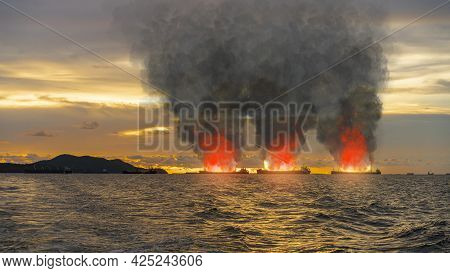Shipping Fleet Or Many Large General Cargo Ship For Logistic Import Export Goods The Explosion And H