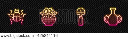 Set Line Shovel, Beetle Bug, Flower In Vase And Vase. Glowing Neon Icon. Vector