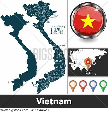 Map Of Vietnam With Provinces And Location On Asian Map. Vector Image