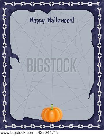 Halloween Background With Empty Sheet Of Paper, Pumpkin And Bones
