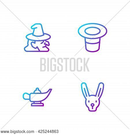 Set Line Rabbit With Ears, Magic Lamp Or Aladdin, Witch And Hat. Gradient Color Icons. Vector