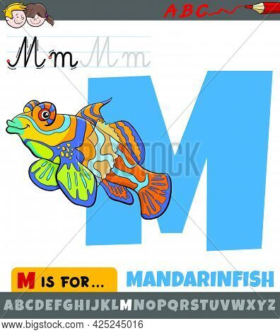 Educational Cartoon Illustration Of Letter M From Alphabet With Mandarinfish Fish Animal Character