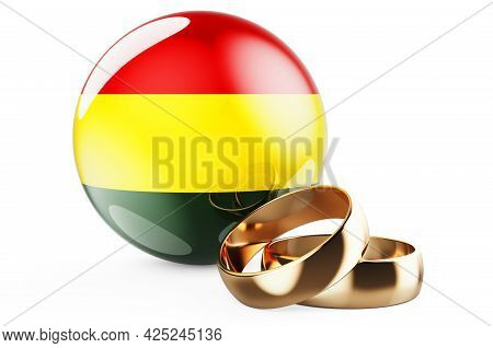 Weddings In Bolivia Concept. Wedding Rings With Bolivian Flag. 3d Rendering Isolated On White Backgr