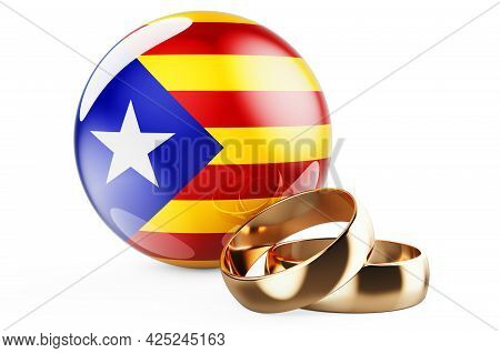 Weddings In Catalonia Concept. Wedding Rings With Catalan Flag. 3d Rendering Isolated On White Backg