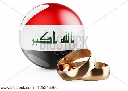 Weddings In Iraq Concept. Wedding Rings With Iraqi Flag. 3d Rendering Isolated On White Background