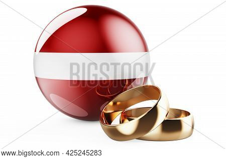 Weddings In Latvia Concept. Wedding Rings With Latvian Flag. 3d Rendering Isolated On White Backgrou