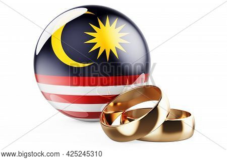 Weddings In Malaysia Concept. Wedding Rings With Malaysian Flag. 3d Rendering Isolated On White Back