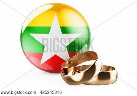 Weddings In Myanmar Concept. Wedding Rings With Myanmar Flag. 3d Rendering Isolated On White Backgro