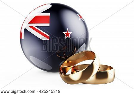 Weddings In New Zealand Concept. Wedding Rings With New Zealand Flag. 3d Rendering Isolated On White