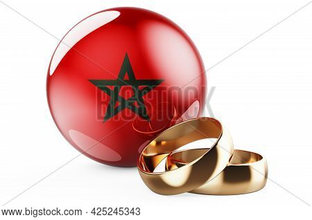 Weddings In Morocco Concept. Wedding Rings With Moroccan Flag. 3d Rendering Isolated On White Backgr