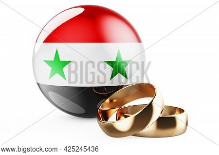Weddings In Syria Concept. Wedding Rings With Syrian Flag. 3d Rendering Isolated On White Background