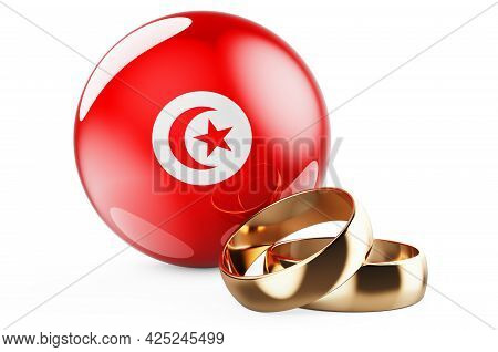 Weddings In Tunisia Concept. Wedding Rings With Tunisian Flag. 3d Rendering Isolated On White Backgr